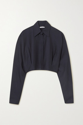 LE 17 SEPTEMBRE Cropped Wool-blend Gauze Shirt - Navy