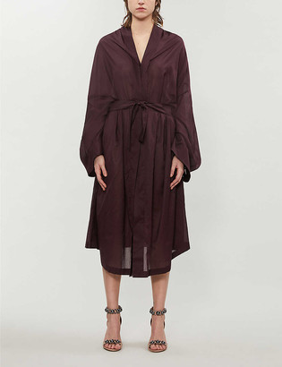 Azzedine Alaia Draped-back cotton shirt dress
