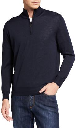 Canali Men's Solid Quarter-Zip Wool Sweater