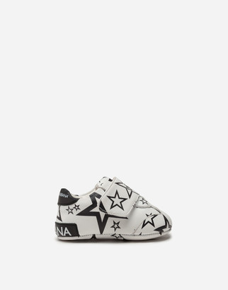 Dolce & Gabbana Velcro Sneakers In Nappa Leather With Star Print