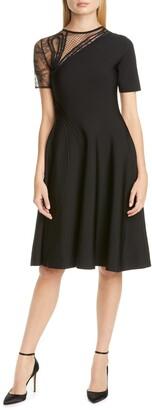 Oscar de la Renta Asymmetrical Lace Inset Dress