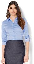 New York & Co. 7th Avenue - Madison Stretch Shirt - Blue & White Pinstripe - Tall
