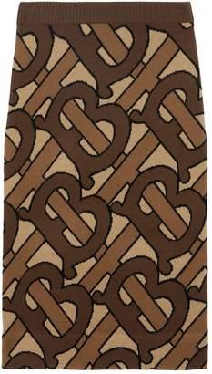 Burberry TB Monogram Intarsia Wool Pencil Skirt