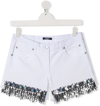 Balmain Kids Sequin Embroidered Shorts