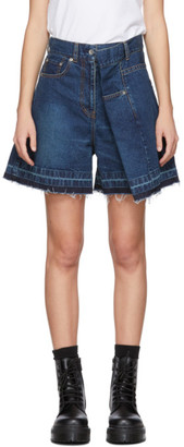 Sacai Blue Denim Asymmetric Shorts