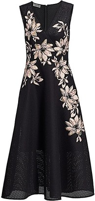 Teri Jon by Rickie Freeman Floral Jacquard Surplice A-Line Dress