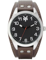 Zoo York Mens Brown Silver Tone And Black Leather Strap Watch