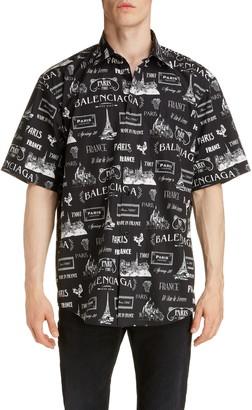 Balenciaga Paris Normal Fit Short Sleeve Button-Up Shirt