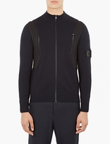 Stone Island Shadow Project Navy Panelled Zip-Up Cardigan