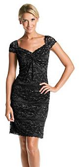 Marina Twist Lace Overlay Dress