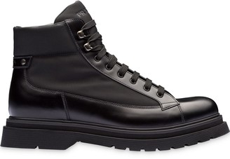 Prada Panelled Lace-Up Boots