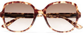 Bottega Veneta Round-Frame Tortiseshell Acetate Sunglasses