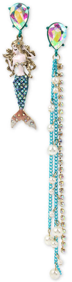 Betsey Johnson Multi-Tone Crystal Mermaid Mismatch Earrings