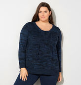 Avenue Marled Lace-Up Pullover Sweater