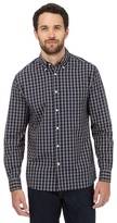 Maine New England Big And Tall Navy And Yellow Checked Print Shirt