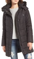 Rip Curl Tide Time Quilted Puffer Coat with Faux Fur Trim Hood