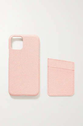 Factory The Case Lizard-effect Leather Iphone 11 Pro Case And Cardholder Set - Baby pink