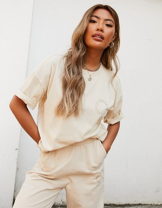 ASOS Weekend Collective co-ord oversized t-shirt with embroidered logo in stone