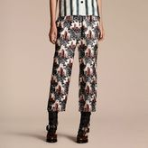 Burberry Castle Print Silk Twill Cropped Pyjama-style Trousers