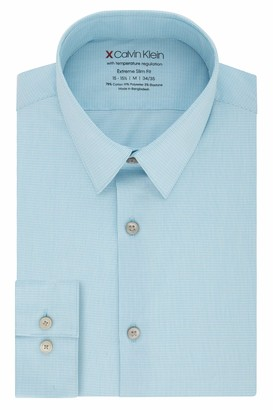 Calvin Klein Men's Dress Shirt Xtreme Slim Fit-Thermal Stretch Check