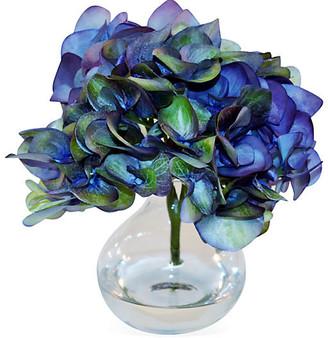 "8"" Hydrangea Arrangement - Faux - The French Bee - arrangement, blue; vessel, clear"