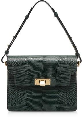 Marge Sherwood Lizard Embossed Leather Vintage Brick Shoulder Bag
