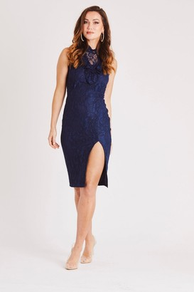 Skirt & Stiletto Sleeveless Navy Lace Dress with Front Slit