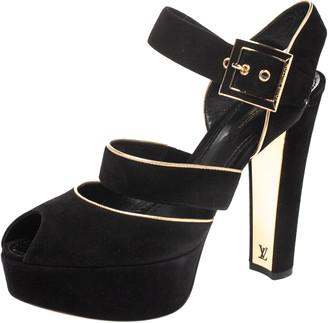 Louis Vuitton Black Suede And Gold Trim Peep Toe Platform Ankle Strap Sandals Size 39