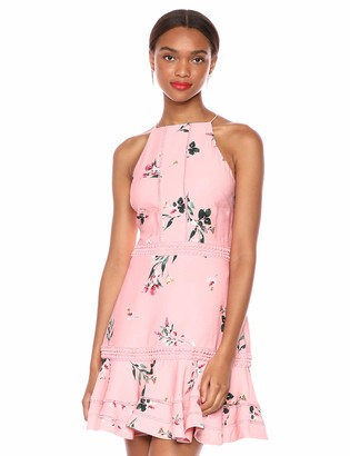 Keepsake Women's Botanic Sleeveless Halter Fit & Flare Mini Dress