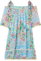 Matthew Williamson Deia Fiesta Cold-shoulder Printed Silk-chiffon Dress - Light blue