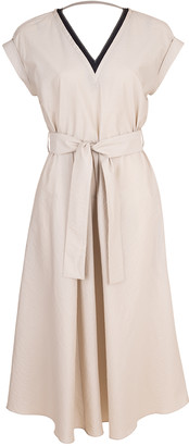 Brunello Cucinelli Cap Sleeve Belted V-Neck Dress