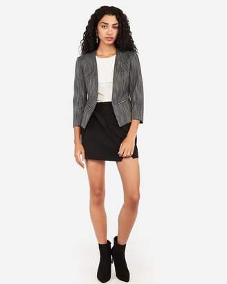 Express Marled Tweed Zip Pocket Cutaway Blazer
