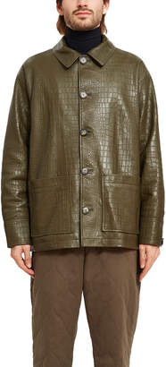 Opening Ceremony Croc Embossed Leather Jacket