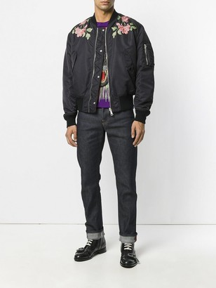Gucci Reversible Nylon And Silk Bomber Jacket Black