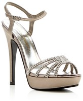 Caparros Belle Metallic Rhinestone Platform High Heel Sandals