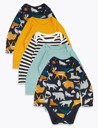 Marks and Spencer 5pk Organic Cotton Arctic Print Bodysuits (6lbs-3 Yrs)