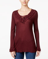 INC International Concepts Lace-Up Ruffled Top, Only at Macy's