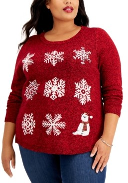 Karen Scott Plus Size Knit Snowflake Sweater, Created for Macy's