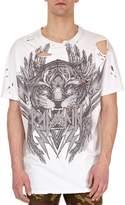 Balmain Distressed Tiger Head Logo T-Shirt, White
