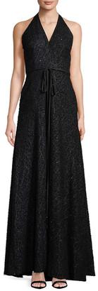 Carmen Marc Valvo Halter Neck Sequin Dress