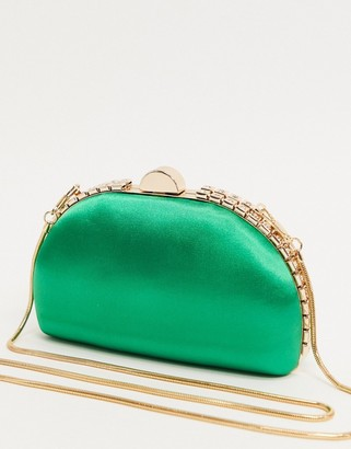 True Decadence half moon clutch bag in emerald green satin with crystals