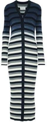 Maison Margiela Striped Ribbed Cotton Cardigan