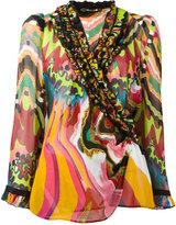 Roberto Cavalli printed ruffle trim shirt - women - Silk - 38