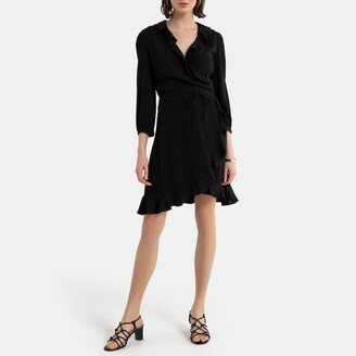 La Redoute Collections Wrap Dress with 3/4 Sleeves