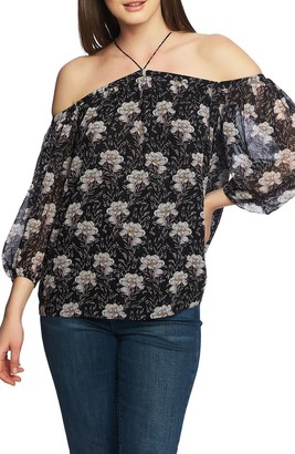 1 STATE Off the Shoulder Sheer Chiffon Blouse