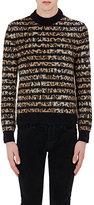 Saint Laurent Men's Striped Leopard-Pattern Sweatshirt-BLACK, BROWN, NO COLOR