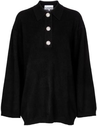 Ganni Embellished cashmere sweater