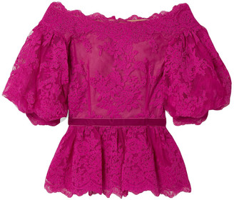 Marchesa Off-the-shoulder Velvet-trimmed Corded Lace Peplum Top