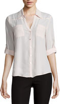 BY AND BY by&by Long-Sleeve Crepe Roll-Tab Button-Front Blouse - Juniors