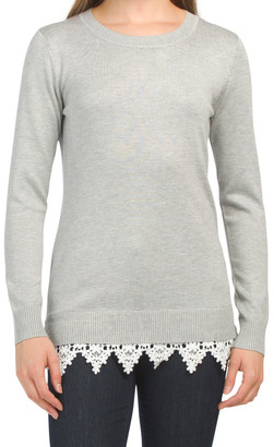 Crew Neck Lace Hem Sweater